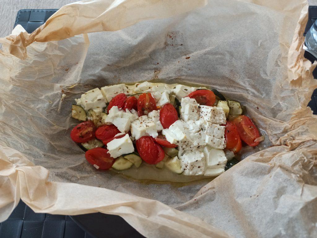 Gemüsepäckchen aus dem Backofen